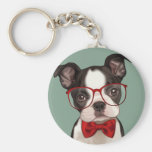 Hippie Boston Terrier Porte-clé Rond