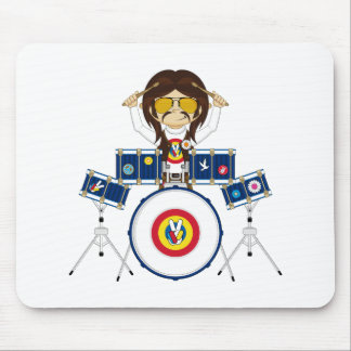 Hippie Boy with Drums Mouse Pad