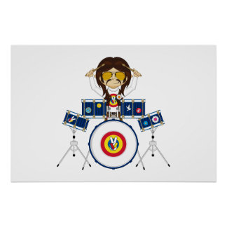 Hippie Boy with Drums Poster