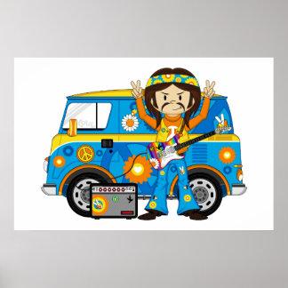 Hippie Boy with Guitar and Camper Van Poster