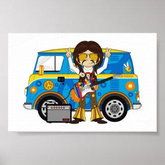 Hippie Boy with Guitar & Camper Van Poster