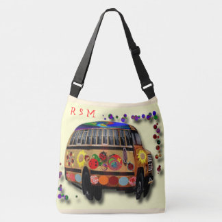 Hippie bus and Sunflower Crossbody Bag