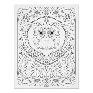 Hippie Chimp Coloring Poster - Colorable Poster