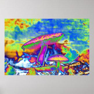 Hippie Dippie Trippy 'Shrooms Poster