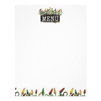 hippie doodle chili peppers menu letterhead