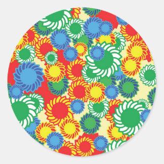 Hippie floral background round sticker