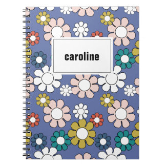 Hippie Floral Personalized Notebook in Blue