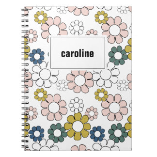 Hippie Floral Personalized Notebook in White