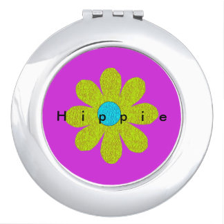 Hippie_Flower_Pink-Green_Compact_Giftware Travel Mirrors