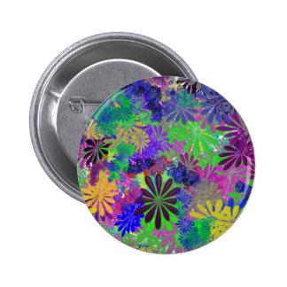 Hippie Flower Power Design 2 Inch Round Button