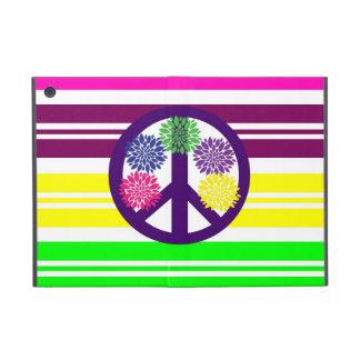 Hippie Flower Power Peace Sign on Rainbow Stripes Cover For iPad Mini