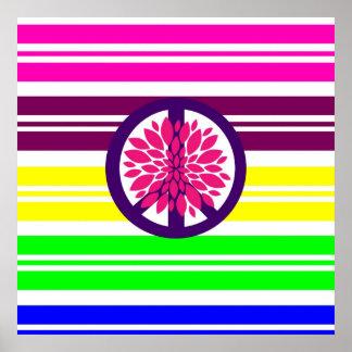 Hippie Flower Power Peace Sign on Rainbow Stripes Print