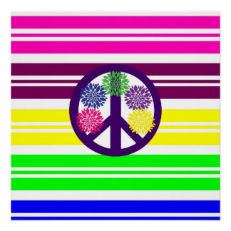 Hippie Flower Power Peace Sign on Rainbow Stripes Posters