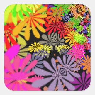 Hippie Flowers Design Square Sticker