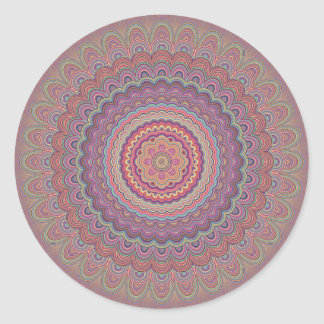 Hippie geometric mandala classic round sticker