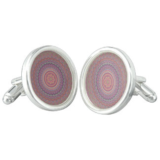 Hippie geometric mandala cufflinks