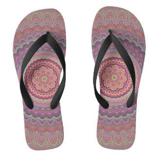 Hippie geometric mandala flip flops