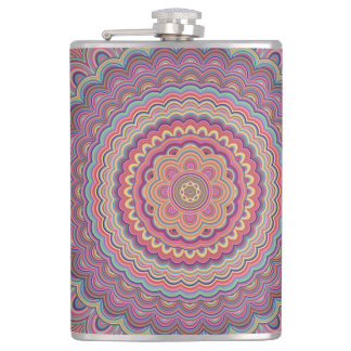 Hippie geometric mandala hip flask