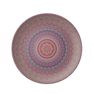 Hippie geometric mandala plate