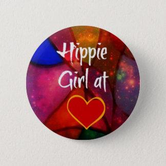 Hippie Girl 2 Inch Round Button