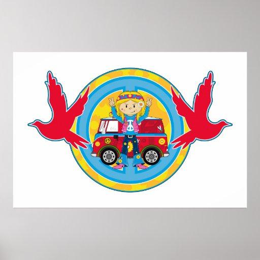 Hippie Girl with Camper Van & Doves Poster