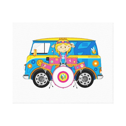 Hippie Girl with Drums and Camper Van Canvas Prints