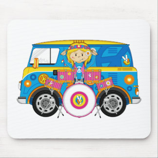 Hippie Girl with Drums and Camper Van Mouse Pad
