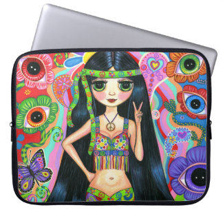 Hippie Girl with Eye Flowers and Butterflies Laptop Sleeve
