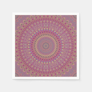 Hippie grid mandala paper napkin
