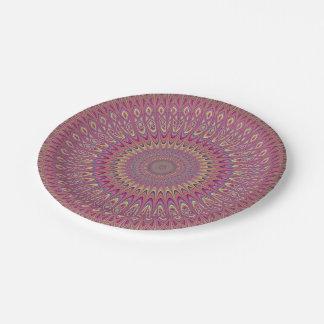 Hippie grid mandala paper plate
