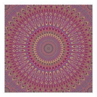 Hippie grid mandala perfect poster