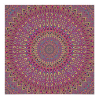 Hippie grid mandala poster