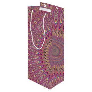 Hippie grid mandala wine gift bag