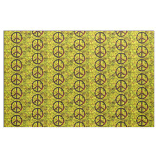 hippie groovy 70's peace symbol pattern #2  yellow fabric