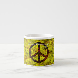 hippie groovy 70's peace symbol pattern yellow espresso cup