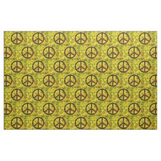 hippie groovy 70's peace symbol pattern yellow fabric