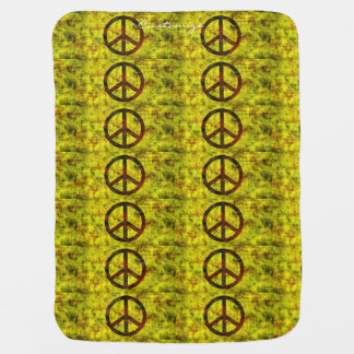 hippie groovy 70's peace symbol yellow baby blanket