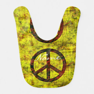 hippie groovy 70's peace symbol yellow bib
