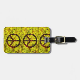 hippie groovy 70's peace symbol yellow luggage tag