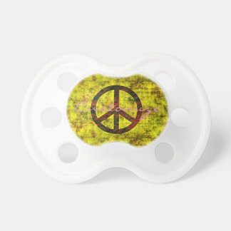 hippie groovy 70's peace symbol yellow pacifier