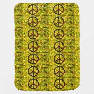 hippie groovy 70's peace symbol yellow stroller blanket