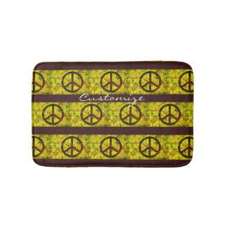 hippie groovy peace symbols yellow bath mat
