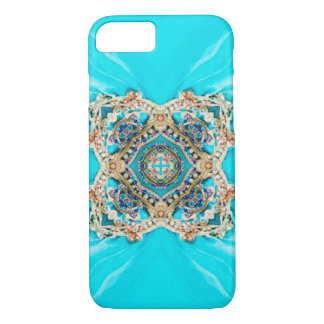 Hippie Gypsy Ethnic turquoise aqua blue bohemian iPhone 8/7 Case