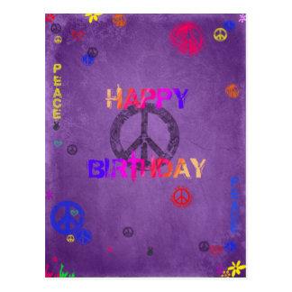 Hippie Happy Birthday Postcard in Purple