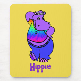 Hippie Hippo Mouse Pad
