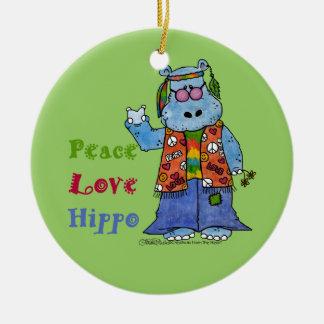 Hippie Hippo-Peace, Love, Hippo Round Ceramic Ornament