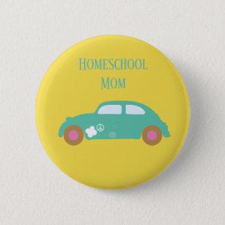Hippie Homeschool Mom Car 2 Inch Round Button