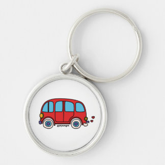 Hippie key ring goes Silver-Colored round keychain