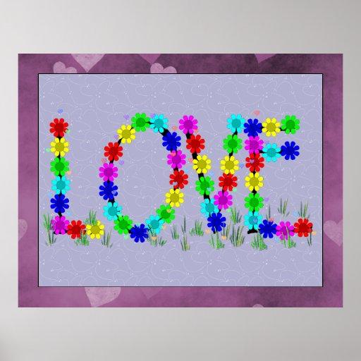 Hippie Love Flowers Print