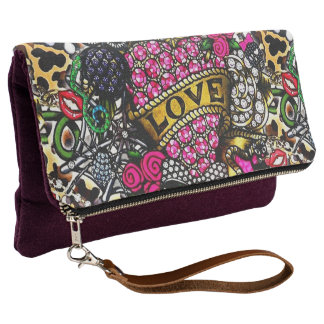 Hippie Love Roses Fancy Clutch Wallet